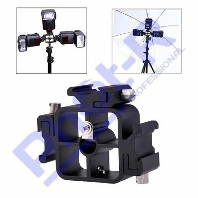 Phot-R Triple 3 Way TriFlash Hot Shoe Mount Speedlite Flash Bracket Cold Adapter