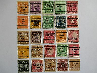 PRECANCELS-LOT 109 -  SMALL COLLECTION OF 25 DIFFERENT TOWN AND TYPE CANCELS.