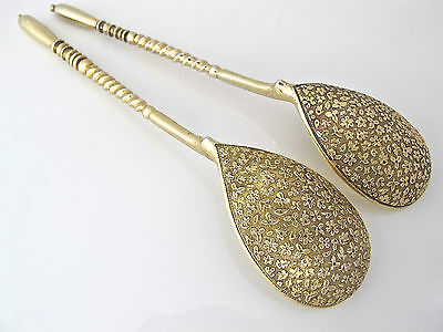 STUNNING pair of silver gilt Russian spoons, floral bowls, MOSCOW 1888