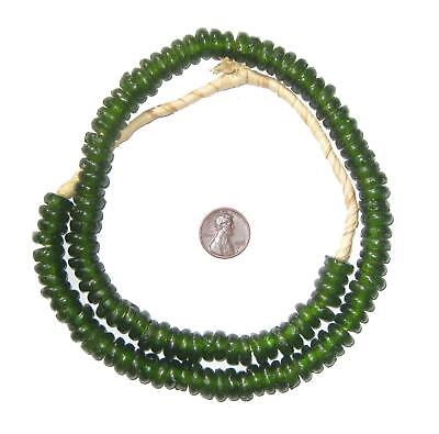 African Green Rondelle Recycled Glass Beads Ghana