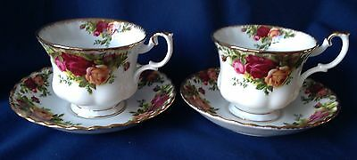 """2 ROYAL ALBERT """"OLD COUNTRY ROSES"""" TEA CUPS & SAUCERS ~ MADE IN ENGLAND ~ MINT!"""