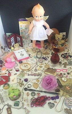 Junk Drawer Lot Vintage Kewpie Jewelry Cologne Bear Buttons Pins Toys 925 Frame