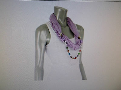 JEWELRY MULTI COLOR STONE ROSE JERSEY SCARF LAVENDER/WHITE /YELLOW/PINK