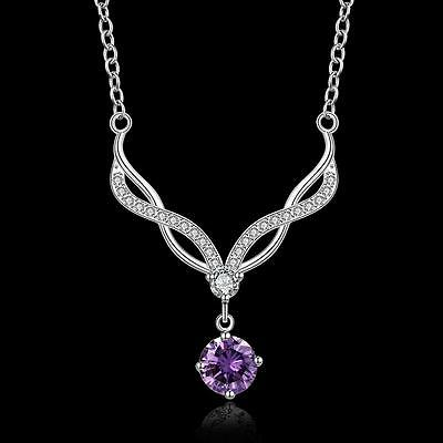 Mother's Day Charm Women 925 Silver Amethyst Fox Necklace Fashion Jewelry