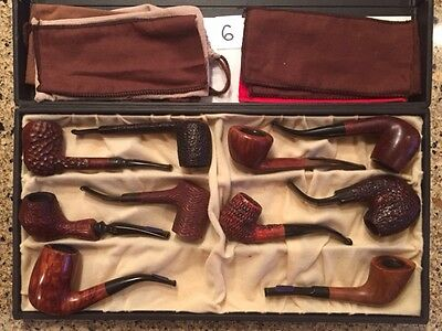 Unique pipe assortment from Father's 1980's collection 10 pipes and display box