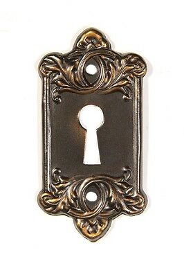 French Lorraine doorknob key escutcheon pressed oil rubbed bronze each