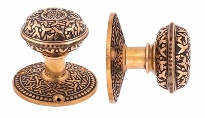 Rice pattern round doorknobs and rosettes for pre-bored holes in modern doors pr