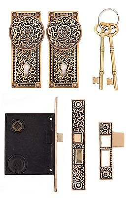 Rice pattern interior mortise lock doorknobs solid bronze precise reproduction