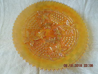 Marigold Northwood Grape & Cable Carnival Glass Pie Tray