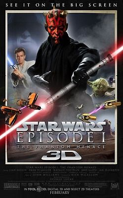 STAR WARS EPISODE 1 THE PHANTOM MENACE 3D DS Original Movie Poster 27x40