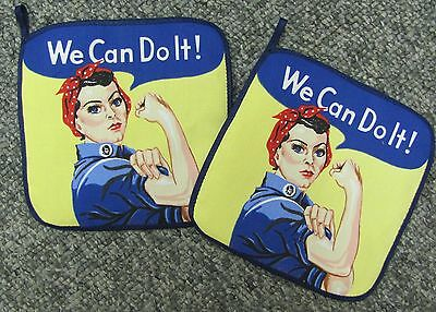 2 New potholders potholder hot pads Rosie the Riveter Yes We Can Do It WW2 War