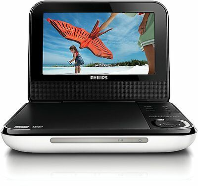 "7"" Inch PHILIPS ELECTRONICS PORTABLE RECHARGEABLE BATTERY DVD CD MP3 JPEG PLAYER"