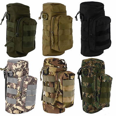 Military Tactical Outdoor Hiking Molle Zipper Water Bottle Hydration Pouch Bag