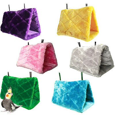 Pet Parrot Bird Hanging Cave Cage Plush Parrot Hammock Tent Bed Hut Toy SML