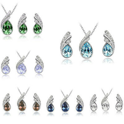 New Style Women Lady Rhinestone Water Drop Earrings And Necklace Jewelry Suit