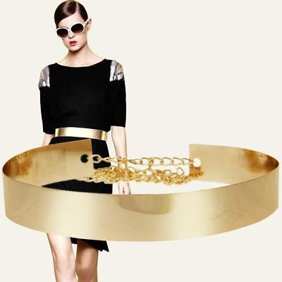 Hot Women Full Metal Waist Mirror Wide Plate Chains Waistband Metallic Belt LH