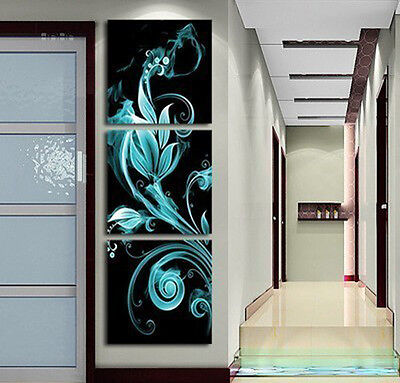 3PC Modern art Abstract Huge Oil Painting on Canvas: the hot flowers