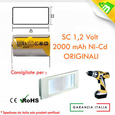 BATTERIA RICARICABILE NI-CD SC 1,2V 2000mAh 22x42mm A SALDARE QUALITA'  EXTRACEL