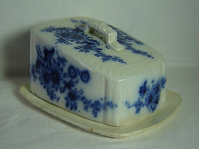Antique Flow Blue Covered Cheese Serving Dish