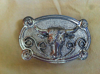 Vintage Silver Tone Metal Belt Buckle With 3D Texas Longhorn Cow /Steer Head