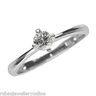 4mm ROUND WHITE CUBIC-ZIRCONIA RHODIUM PLATED 925 STERLING SILVER SOLITAIRE RING