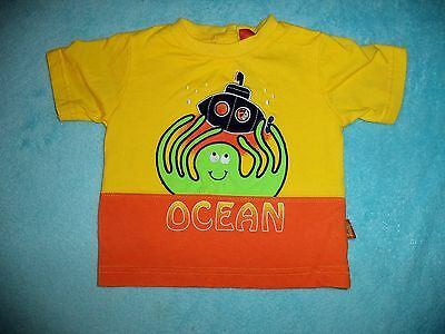 "SMILY BOYS 6-8 MONTHS YELLOW/ ORANGE ""OCEAN""  SHORT SLEEVE TEE - NEW!"