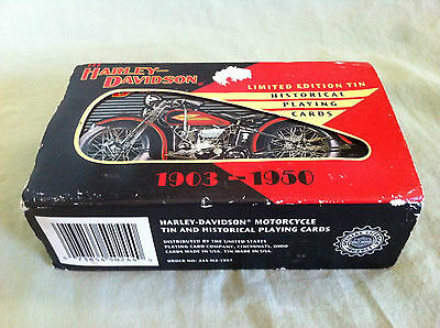 Harley Davidson Historical Playing Cards 1903-1950 Ltd Edition Collectible Tin