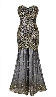 Sexy Sleeveless Sequin Embroidery Gold Long Dress L Golden/Black