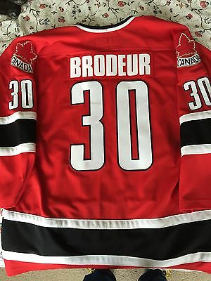 2002 Martin Brodeur Olympic Hockey Jersey -- Team Canada -- Gold Medal XL