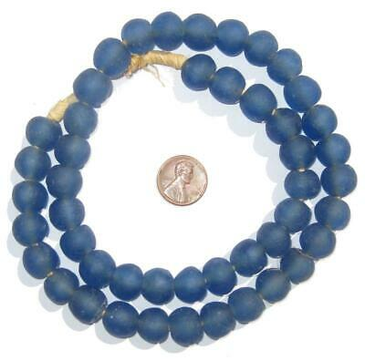 African Recycled Glass Beads - 14mm (Blue) Ghana
