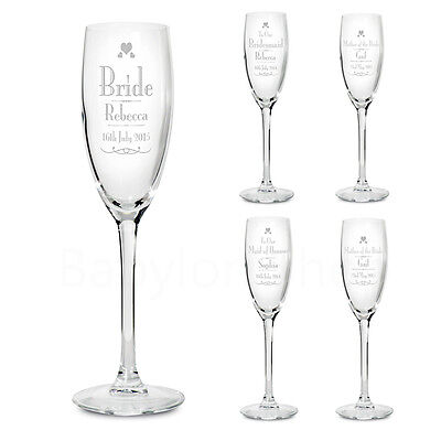 Personalised Wedding Role Champagne Flutes Glasses - Thank You Set Favour Gifts