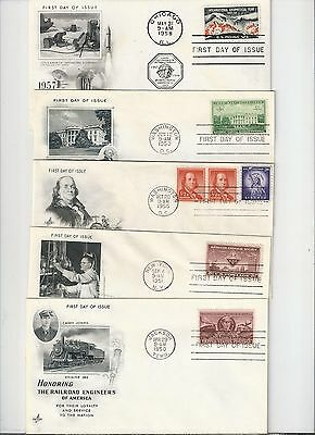 US FIRST DAY COVERS FDC  LOT OF 26 DIFFERENT ARTCRAFT 1950 ' S  NO ADDRESS