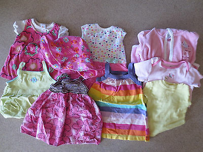 Cute 9pc Lot GUC Baby Girls Carter's Striped Circo Pink Floral Dresses Hat sz 9m