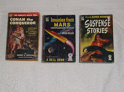 vintage fantasy-sci-fi-mystery-mixed lot of 3-paperbacks 1950s-GD