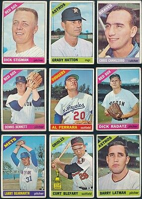 1966 Topps Baseball 166 Card Lot all different G cond Low Grade BV $556 30105
