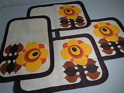 Vintage 60s 70s Worcester Ware  Printed Place Mats Mid Century Modern Retro