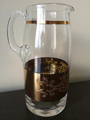 NEW Vintage Bohemia Crystalex -  Crystal Pitcher With Gold Design  (Czech Rep)