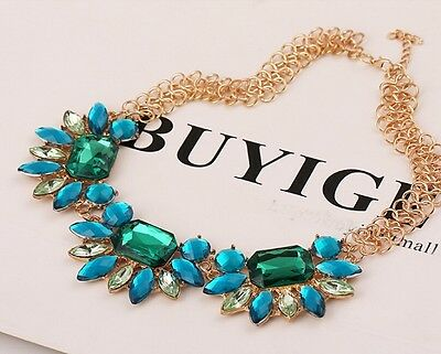 Nice Luxury Fashion Resin Crystal Geometry Golden Leaves Thick Chain Necklace