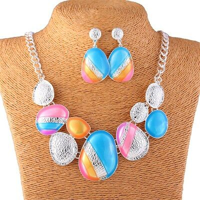 Colorful Oil Drop Fashion Oval Map Bead Women's Bib Statement Chain Necklace New