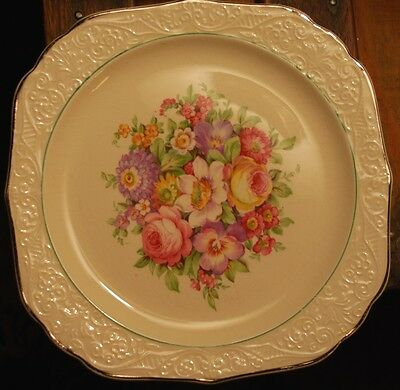 Set of 4 Vintage EDWIN KNOWLES SQUARE SIDED Salad Plates Floral W Platinum Trim