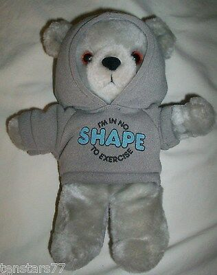 """Vintage 1986 APPLAUSE Hoodie TEDDY BEAR I'm In No Shape To Exercise Korea 9"""" EUC"""