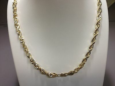 """14KT Solid Gold Diamond Cut Rope Chain Necklace 26"""" 4 mm 35 grams"""