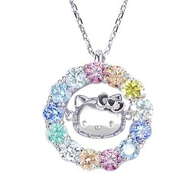 Hello Kitty ZILCONIA Silver Pendant Necklace Fashion Jewelry Made in Japan T0031