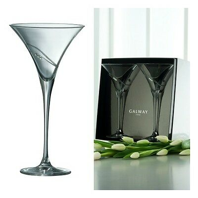 Galway Crystal Living Rings Cocktail/Martini Glasses (Pair) With Swarovski NEW