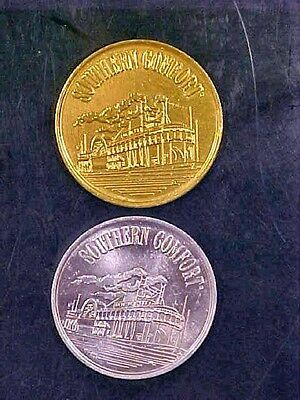 2 Gold-Silver SOUTHERN COMFORT STEAMBOAT COIN TOKENS