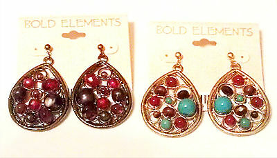 "Bold Elements by Erica Lyons 2pr. 2"" Post Style Bead Oval Hoops (NWT $36)"