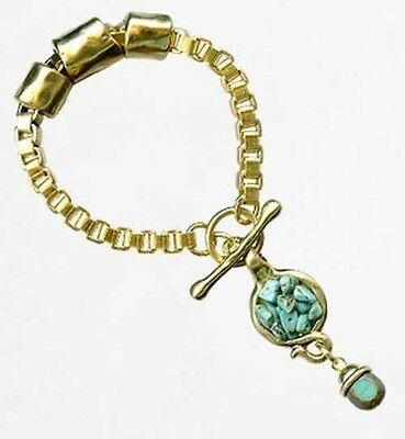 Vtg Yellow Gold plated Bracelet T Bar Drop Antique Coin Turquoise Stone Pendant