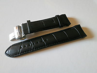24mm Black Watch Leather Band Strap For Tissot T035