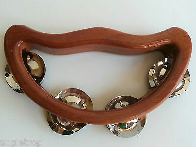 Tambourine half moon wood hand made Bali percussion musical instrument 18cm