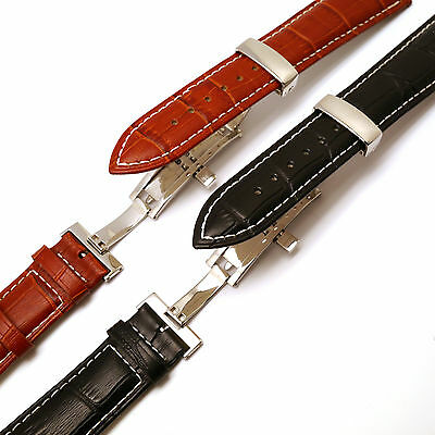 Contrast Stitching Croco Deployant Watch Strap w/ Push Button for All 19mm 21mm